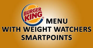 burger king menu with weight watchers smartpoints weight watchers recipes