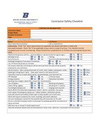 Contractor Checklist Contractor Safety Checklist