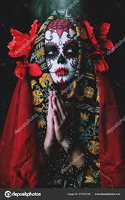 a portrait of calavera catrina sugar skull makeup dia de los muertos day of the dead stock image
