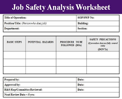 job safety analysis template job safety analysis template excel project management templates