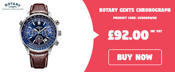 rotary gents chronograph blue dial brown leather
