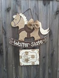 rocking horse hospital door hanger horsey nursery art personalized baby hanger baby nursery cool bee animal rocking horse