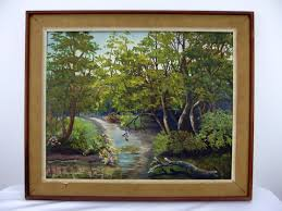 vtg acrylic on canvas board painting scenic wooded landscape signed opal sevier