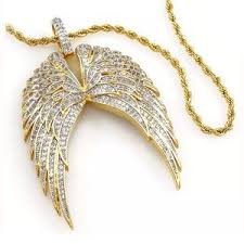 accessories iced out 18k real gold finish angel wings necklace