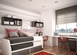 Small Bedroom Chest Bedroom Grey Modern Faabric Storage Bed Wooden Floor Red Rug Gray