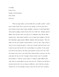 "pandj final essay  cori muller professor sosa prejudice and discrimination soc 230 002 final essay ""when you"