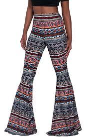Flare Pants Pattern Beauteous Herose Ladies Soft Ethnic Boho Pattern Bell Bottom Floor Length