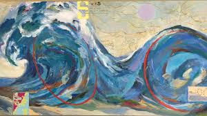 Paintings On Nautical Charts Large Works Elizabeth Whelton Studios