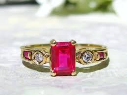 emerald cut ruby diamond vine enement ring 10k yellow gold diamond wedding ring alternative enement ring bridal jewelry size 7