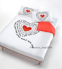 Copripiumino singolo digitale cuore cuori 100% cotone idea regalo