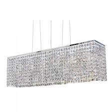 rectangular miami crystal pendant chandelier chrome