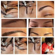microblading is a form of tattooing that lasts for months that uses a small blade to make strokes that mimic natural brow hairs while depositing pigment to