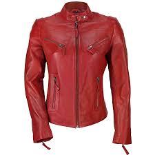 las womens genuine real leather vintage slim fit