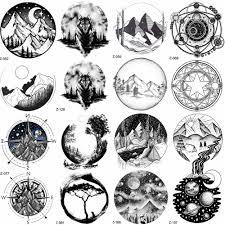 Yuran černá Horské řeky Geometrické Tetování Samolepky ženy Tělo