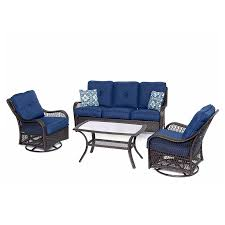 hanover outdoor furniture orleans 4 piece wicker frame patio conversation set with navy cushions