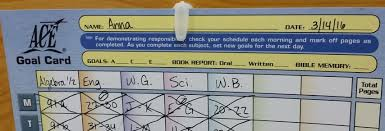 Ace Goal Chart Goal Cards And Record Keeping Pace Success