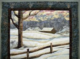 122 best Quilts - Let it Snow images on Pinterest | Quilt art, Art ... & Fabric art landscape quilted snow scene wall by Serenstitches Adamdwight.com