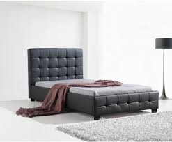PALERMO PU DELUXE LEATHER BED FRAME / BLACK - KING SINGLE