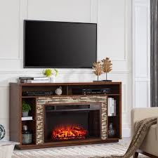 glass tiled tv stand electric fireplace in whiskey maple