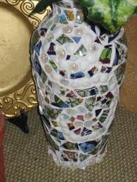 broken tile and glass bead flower vase born out of necessity because the cats broke my original vase