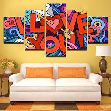 apartment wall art modular wall art frame apartment decor poster 5 piece i love you painting apartment wall art