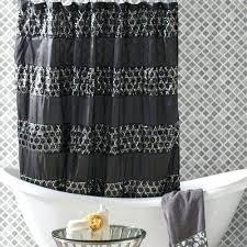 black stripe shower curtain interiors rivet striped shower curtain color black black ticking stripe shower curtain
