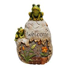 welcome sign rock with frog garden statue wayfair woodland imports busch gardens tampa grey