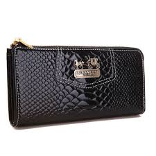 Coach Madison Continental Zip In Croc Embossed Large Black Walle