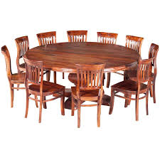 spacious nevada rustic solid wood large round dining table for 10 people on 84