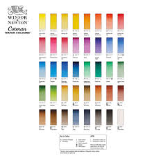 Winsor Newton Cotman Hand Painted Color Chart