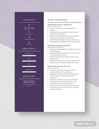 Food Production Supervisor Resume Template Download 4741