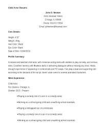 Examples Of Special Skills For Resume Example Of Acting Resume Child