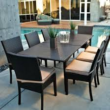 modern outdoor dining sets. Wooden Outdoor Dining Table Modern Set With Black Wicker Furniture Cream Chairs Sets
