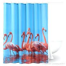 decorative shower curtain tension rods plastic hooks flamingo fabric waterproof modern bathrooms