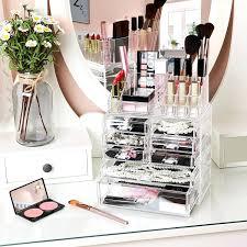 sorbus makeup storage organizer display case set acrylic makeup organizer 3 pieces set cosmetic storage jewelry