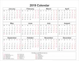 Calendar 2019 Printable With Holidays Blank Printable Calendar 2019 With Holidays Printableshelter