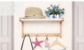 creative coatrack bedroom wall shelf bamboo wood stainless steel wall hangers solid wood clothes racks european