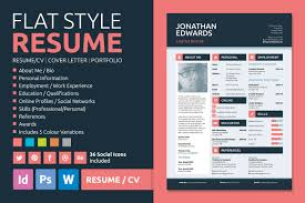 Flat Style Resume By Bilmaw Creative On Creative Market Inspire