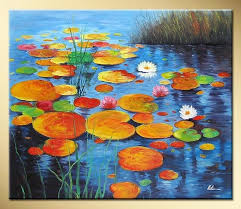 art works hand painted green water lily pads decorative landscape oil painting on canvas 16