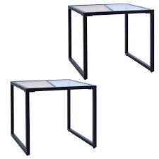 costway set of 2 side end table tempered glass top metal frame living room furniture 0