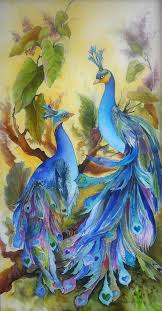 Beautiful Peacocks with Hearts Art Painting