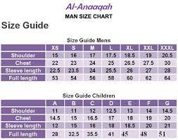Mens Size Chart Al Anaaqah