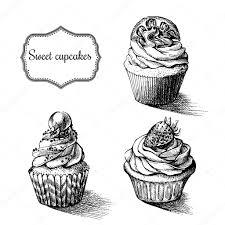 モノクロのベクトルの背景手にはレモンと甘いカップケーキが描画され