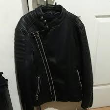 zara man leather biker double ted jacket men s fashion clothes outerwear on carou
