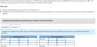 Prepaid Insurance Journal Entry Solved At December 31 The Unadjusted Trial Balance Of H