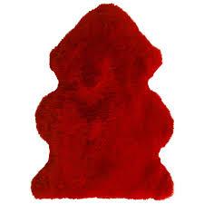 chilli red merino sheepskin hide throw rug