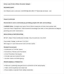 Non Certified Police Officer Sample Resume Podarki Co