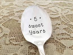 5th anniversary gift 5 sweet years hand sted silverware sugar spoon always