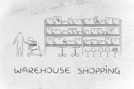 warehouse style furniture. Stock Photo - Warehouse Shopping: Customer With Shopping Cart Walking  Through Style Aisle In A Furniture Store