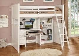 Loft Bed - Desk + Hutch, Bookshelf - Matching Chair Included